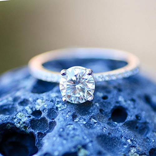 Ready to Ship Moissanite Engagement Ring Sterling Silver 925, Top Grade VVS...