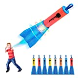 Duckura Slingshot Finger Rockets, 8 Pack LED Foam Rocket Launchers, Soars Up to 100 Feet, Outdoor Camping Game Activities, Summer Beach Party Favors Toys Gifts for Kids Age 4 5 6 7 8 9 +