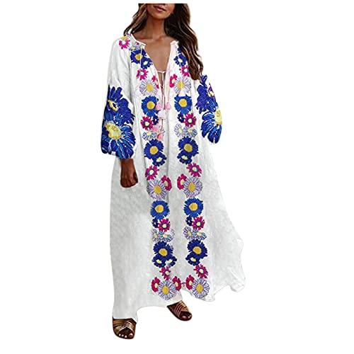 BOOMJIU Vestido Mujer Largo de Estampado de Flor Verano Casual Manga Larga Cuello V Profundo Maxi Vestido Suelto de Playa Tallas Grandes