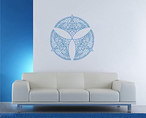 Mandala creativo Hamsa Mano Buda Hinduismo hindú Ornamento religión Patrón de flores Estudio de yoga Calcomanía de arte Sala de estar Decoración Mural Etiqueta de la pared
