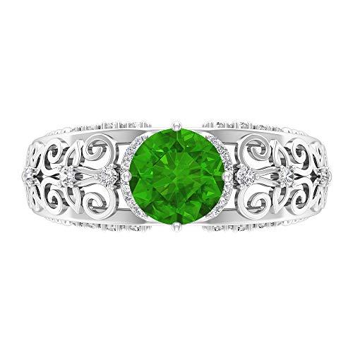 Anillo solitario de 7 mm, D-VSSI Moissanita, anillo de oro y filigrana, oro blanco de 14 quilates. verde