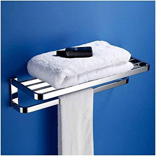 MMWYC Cuarto de baño Estante de la Toalla del Carril de Acero Inoxidable baño montado en la Pared toallero Cromo Pulido Pulgadas, Plata / 19.7~23.6 Pulgadas (Color : Towel Rack, Size : 60cm)