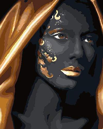 YJRXSS Malen nach Zahlen für Erwachsene Goldene Turbanfrau Gemälde Kit für Erwachsene & Kinder Anfänger 16x20 Zoll Enthält 3 Pinsel und Acrylfarben