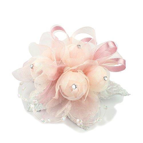 (クレインズコレクション) 手作り コサージュ ブローチ 5つのつぼみ ピン フォーマル シーンや エレガント な装いに(ピンク)