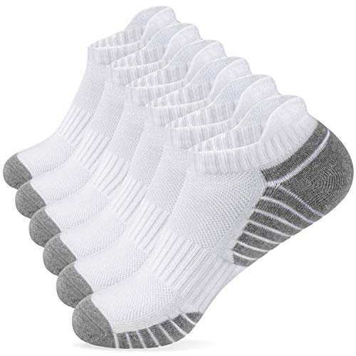 Alaplus Socks for Men Women, Low Cut No Show Heel Tab Thick Cotton Arch Support Non-Slip Socks for Running Hiking Walking