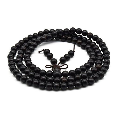 Zen Dear Unisex Natural Ebony Wood Buddhist Prayer Bead Necklace Bracelet Tibetan Prayer Mala Beaded Black (06mm 108beads)