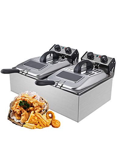 WantJoin Commercial Deep Fryer with Visible Window Deep fryer 2500W 12L (6L* 2)2* 5.7QT Stainless Steel French Fry Double Deep Fast Fryer with 2 Baskets,Commercial Restaurant,Fast Food Restaurant