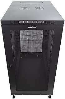 NavePoint 24U Rack Enclosure Server Cabinet, Mid Depth 33 Inch Deep, Perforated Door Lock and Casters Black