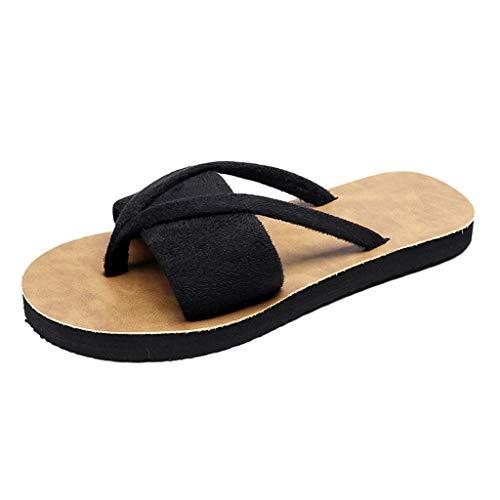 WUSIKY Damen Hausschuhe Frauen Sommer Slipper Indoor Outdoor Flip-Flop Strandschuhe Mode Casual Slipper Strand Modisch Bequem Sandalen Schwarz 36