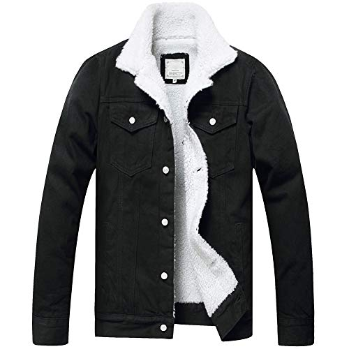 LZLER Men's Fleece Jean Jacket Winter Cotton Sherpa Lined Denim Trucker Jacket (Black 806, S)