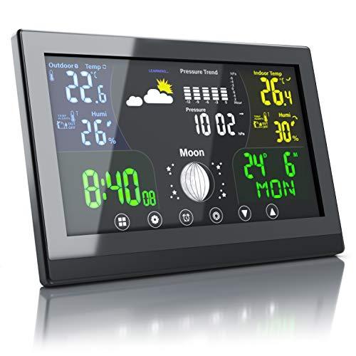 Bearware - Nuova Stazione Meteo con Display a Colori e Sveglia - Nuovo con misurazione della Pressione dell Aria Locale per previsioni affidabili- Temperatura - Umiditá - Calendario - Sensore Esterno