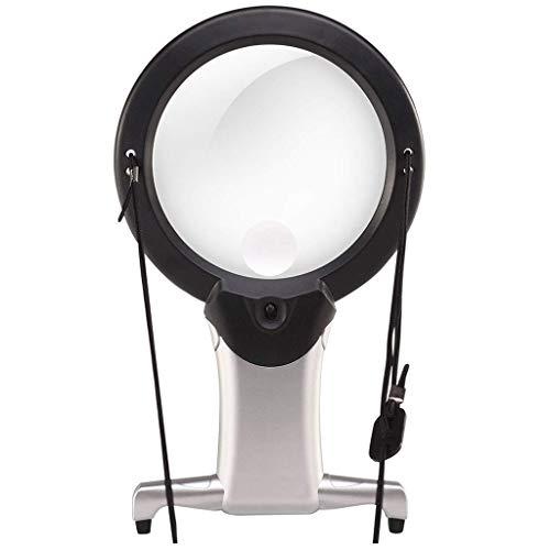 Lupa LED 2X 6X Lupa De Lectura con 2 Luces LED Luz De Reposo De Manos Libres para El Pecho Lupa para Lectura, Manualidades, Inspección, Costura, Pasatiempos