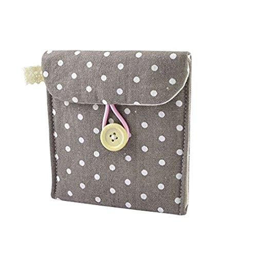 RuiChy Tasche für Slipeinlagen/Damen-Binden, aus Baumwolle, gepunktet coffee