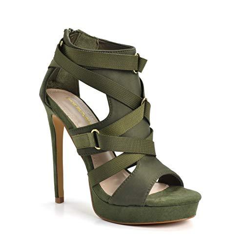 Shoe Republic LA Women's Fashion Strappy Cutout Stilettos High Heel Platform Sandals Open Toe Shoes Seduce Olive Size 5.5