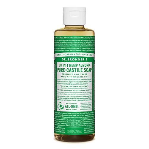 Jabón líquido de castilla pura de almendras orgánicas Dr. Bronner, 237 ml