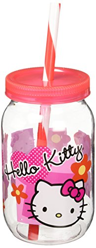 Zak 1555-2875D Vaso con Tapa y Popote, Modelo Hello Kitty, color Rojo/Blanco