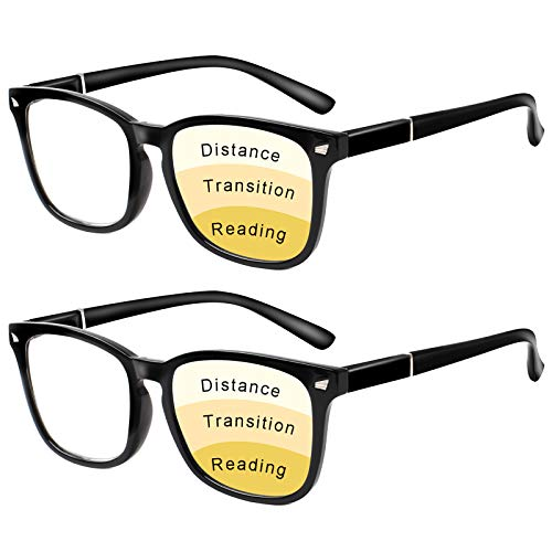 Progressive Multifocus Reading Glasses Women Men Blue Light Blocking, Anti Eye Strain/Glare/UV Filter Computer Readers (2 Black, 4.00)