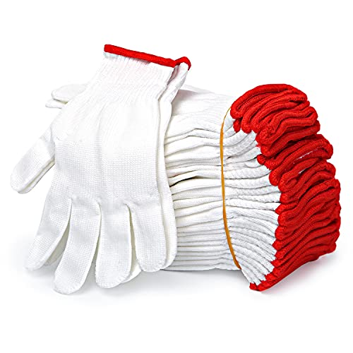 apauls Polyester String Knit Safety Protection Work Gloves for Painter Mechanic Industrial Warehouse Gardening Construction Men & Women , BBQ Thicker Industry Knitted Cut Repair Gloves Durable String Knit Light Weight for Work Safety Thick Cotton 12 Pairs