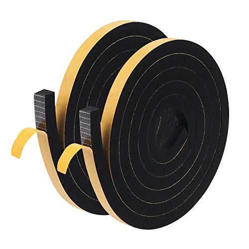 Nastro adesivo in schiuma, 12 mm (larghezza) x 12 mm (T), sigillante per paraspifferi per porte e finestre da cucina (2 pezzi di lunghezza totale 4 m)