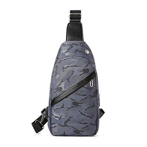 Men's Chest Bag Water-Repellent Shoulder Bag Sling Crossbody Bag Outdoor Sport Bag with USB Charging Port,Gray