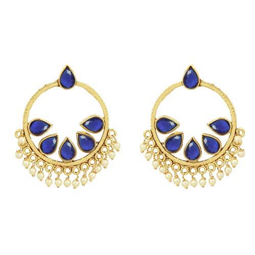 SANARA Ethnic Indian Bollywood Gold Plated Multi Pearl Crystal Made Pear Drop Polki Earring Set Women Bridal Wedding & Partywear Jewelry (Aqua)