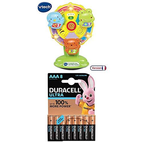 VTech Lot 165905 - Jouet Musical - La Grande Roue des P'tits Copains + Duracell Ultra Power Piles Alcalines Type AAA, 8 Piles
