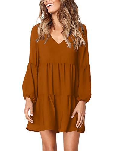 Amoretu Women Long Sleeve Tunic Dress V Neck Swing Shift Dresses(Brown,Small)