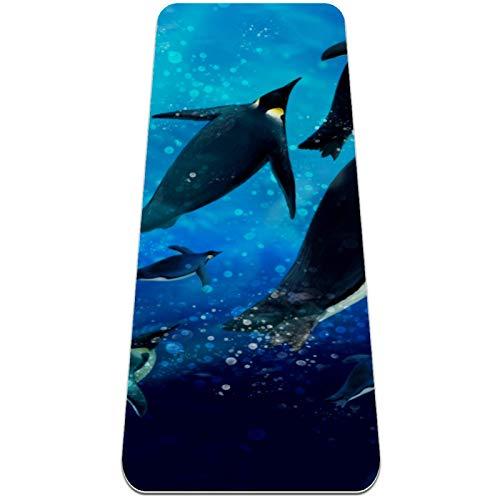 Eslifey Esterilla de yoga de pingüino marino subacuático gruesa antideslizante para mujeres y niñas, tapete de ejercicio suave para pilates (72 x 24 pulgadas, 1/4 pulgadas de grosor)