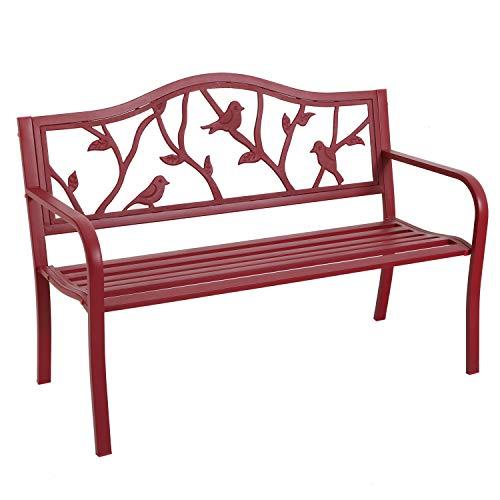 MFSTUDIO Outdoor Patio Garden Bench 50in Metal Seating Chair Furniture for Backyard, Porch, Lawn, Park, Pastoral Bird Design Back, Pink Red