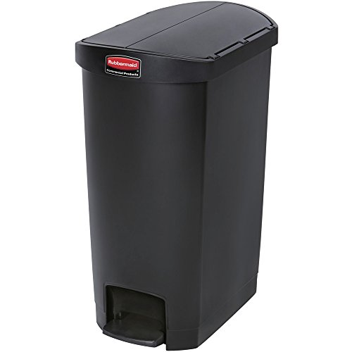Rubbermaid Commercial Products Slim Jim Step-On Plastic Trash/Garbage Cans, 13 Gallon, Plastic End Step Step-On, Black