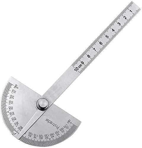 LXNQG 0-180 Grados 10 cm ángulo Regla goniometómetro Acero Inoxidable transportador Redondo Cabeza Regla de Madera ángulo de carpintería Prueba Cuadrada
