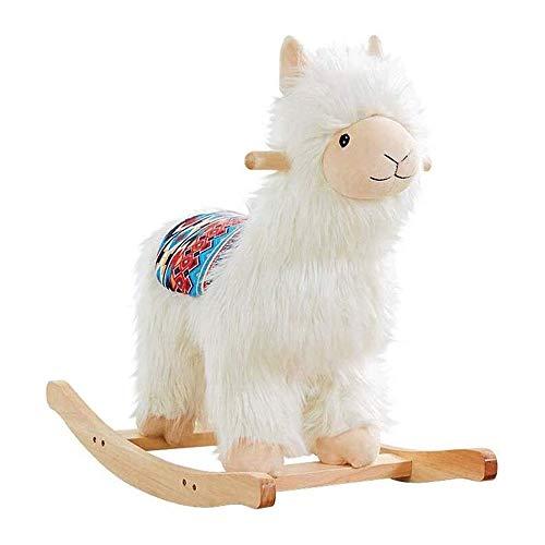 XWX Rocking Horse Kinderhäuser Massivholz Plüsch Schaukelstuhl Spielzeug Pappel Erweiterte Basis Weich Und Bequem