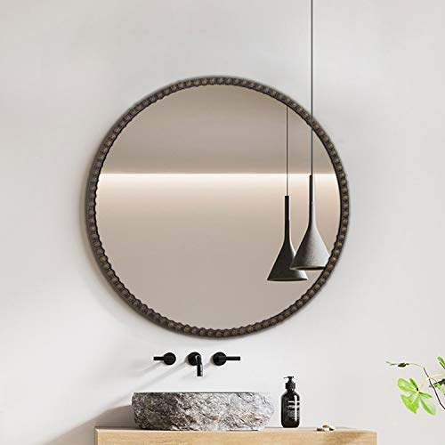 Hans&Alice Round Antique Mirror with Metal Frame, Wall Mounted Mirror for Bathroom,...