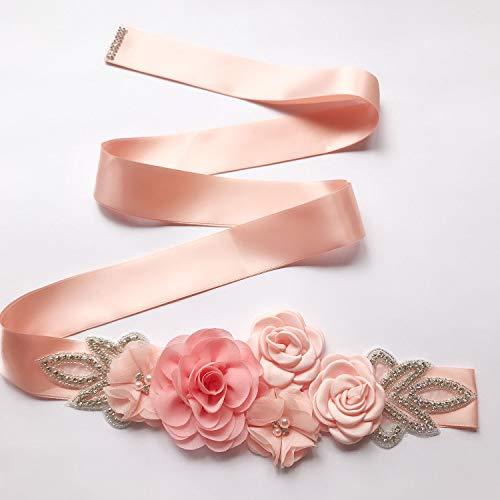 Afrsmw Cinturón de Mujer Cinturón Novia con La Flor Cristal Perla Cinturón...