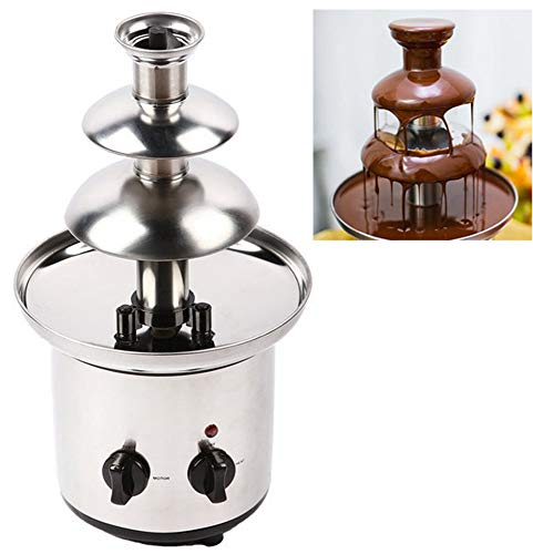 CGOLDENWALL 3 Layers Chocolate Fountain Maker Electric Chocolate Waterfall Machine Stainless Steel Chocolate Melting Pot Homemade Electric Heating Fondue Non-noise Chocolate Blender (220V)
