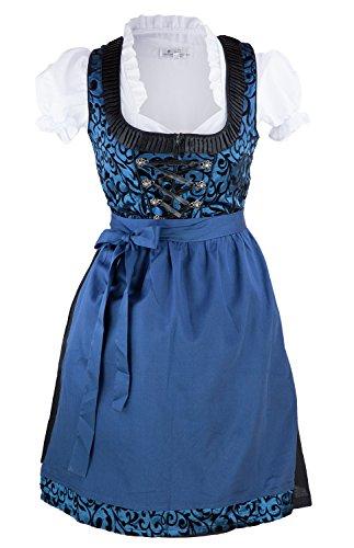 Bavarian Clothes Dirndl Trachtenkleid 3 teiliges Set Gr 34 36 38 40 42 44 46 48 50 kurz midi blau mit weißer Dirndlbluse und Dirndlschürze Oktoberfest