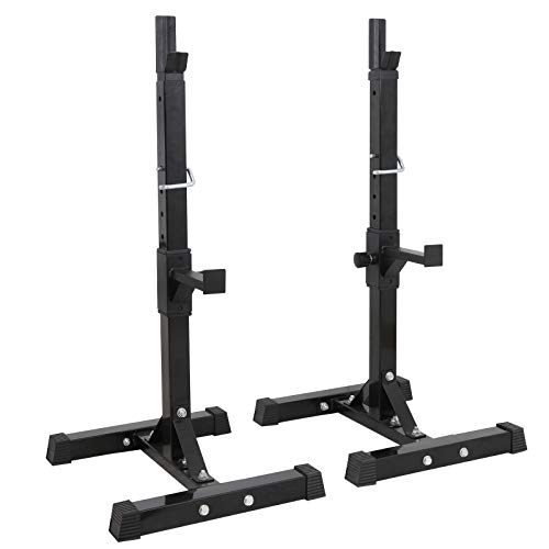 "F2C Max Load 550Lbs Pair of Adjustable 40""-66"" Rack Sturdy Steel Squat Barbell Free Bench Press Stands Gym/Home Gym Portable Dumbbell Racks Stands (one Pair/Two pcs)"
