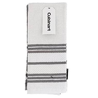 Cuisinart 100% Cotton Terry Hand and Dish Kitchen Towels - Absorbent, Light-Weight, Soft & Machine Washable- Dry Hands and Dishes- Set of 2, 16 x 26 Towels, Popcorn Stripe- Grey