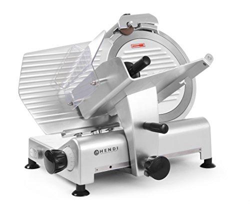 HENDI Aufschnittmaschine, Profi Line 300, Messerdurchmesser: 300mm, Allesschneider, Stufenlos einstellbare Schnittstärke (0-15mm), 230V, 420W, 600x480x(H)450mm, Aluminium, Edelstahl