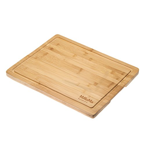 Minuma® Bambus Schneidebrett Tranchierbrett | 40 x 30 cm | Holzschneidebrett mit Saftrille und klingenschonend - Natur für die Küche, robust und hochwertig