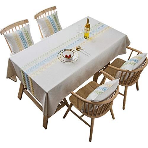 Tafelkleed van stof katoen en linnen, kleine lucht, rechthoekig, tafelkleed voor tuin, wind, tafelkleed