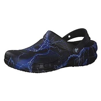Crocs Men s and Women s Bistro Clog   Slip Resistant Work Shoe Black/Lightning Bolts 11 Women / 9 Men