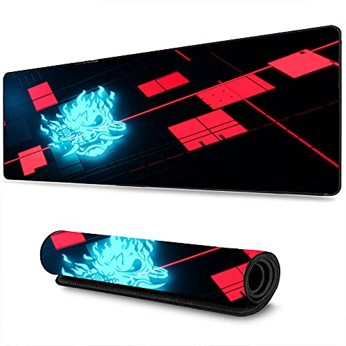 Large Gaming Mouse pad Cyberpunk Athletic Game Game Logo Art Desktop Computer Keyboard mat with Stitched Edges for Work and Games, Office and Home 15.8'x35.5'