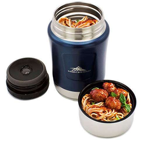 High Sierra HS1660, 17 oz Food Thermos, Wall Insulation, 18/8 Stainless Steel, Keeps Warm for Up To 12 Hours, Leakproof Lid Doubles Up as a Serving Bowl, Wide Mouth for Easy Cleaning, Midnight Blue