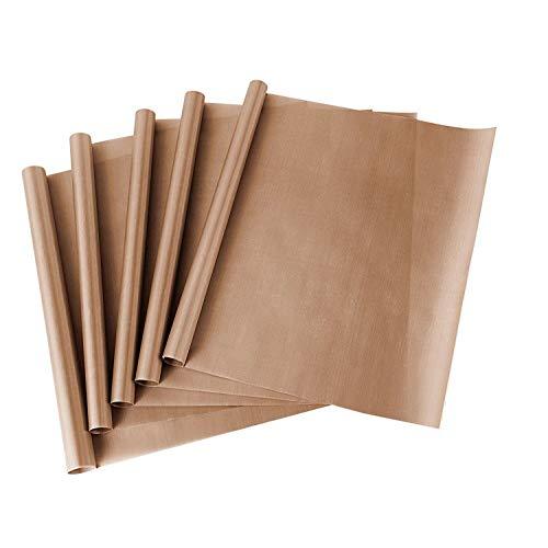 ss shovan Papel de Horno, Reutilizable Paquete de 5 Hojas de Teflon de PTFE para prensas de Calor Hoja de Papel de 40*50 cmResistente al Calor