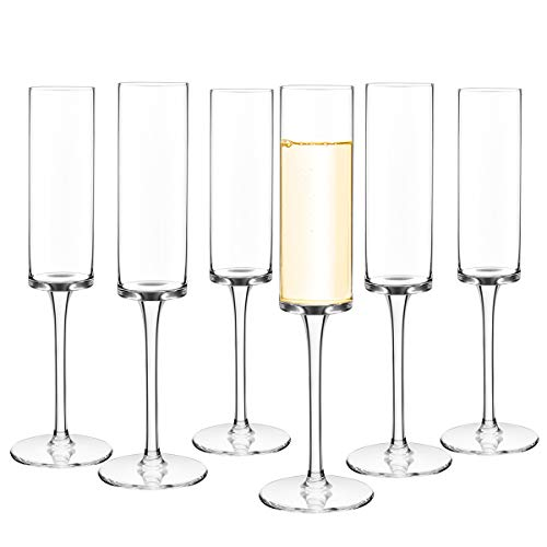 Set of 6 Crystal Champagne Flutes Champagne Glasses Hand Blown Classy...