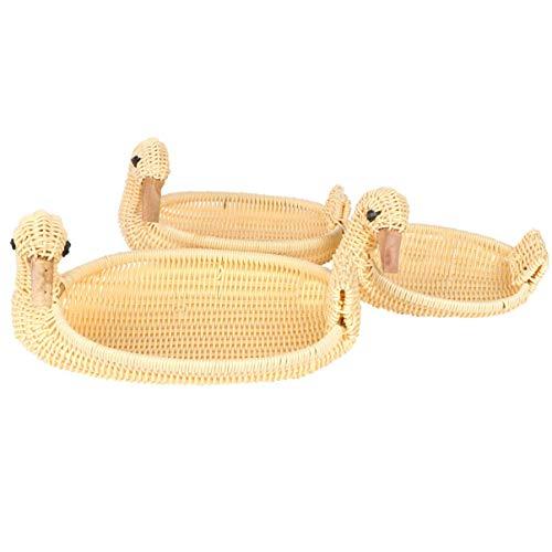 3 sztuk pulpit kosz na owoce symulowane wiklinowe rozmaitości kosze kształt kaczki kosz na chleb rustykalny pulpit organizer na rozmaitości do toaletki gabinet