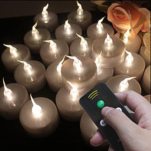 Wilrigir Candele a LED senza fiamma, con luce bianca calda, luce tremolante, a LED, funzionamento a batteria, realistiche e luminose, per feste stagionali e festival, confezione da 12