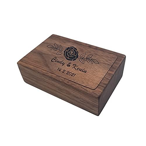 Caja de anillo de madera personalizada, caja de portador de anillo de boda con nombre grabado vintage, vitrina de almacenamiento de anillo rectangular de madera de nogal negro