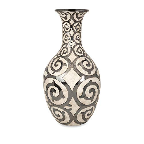 IMAX 89684 Benigna Tall Oversized Floor Vase, Muted Bronze Pattern, Raised Cream Finished Bodice, Sophisticated And Luxurious Appeal., Decorative Vase, 28.5'H x 14.75'D